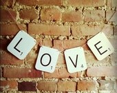 SCRABBLE LOVE Wedding Banner - Engagement, Photo Props, Sign, Garland