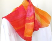 Hand painted silk scarf orange yellow and scarlet abstract stripe design 8x54 longCanada made scarf