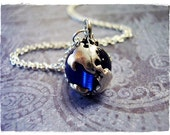 Sapphire Blue Earth Globe Necklace - Antique Pewter Sapphire Blue Earth Globe Charm on a Delicate Silver Plated Cable Chain or Charm Only