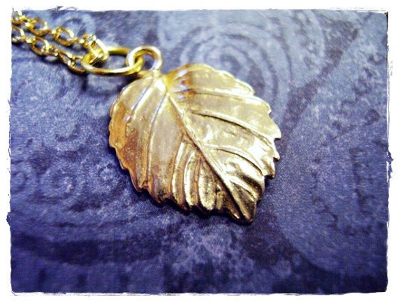 Gold Elm Leaf Necklace - Brass Elm Leaf Charm on a Delicate Gold Plated Cable Chain or Charm Only