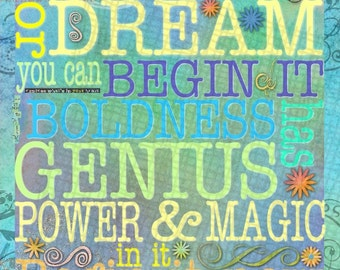 BEGIN IT NOW Contemporary 16x20 Gallery Wrapped Canvas - Motivational Colorful Dream Genius Goethe