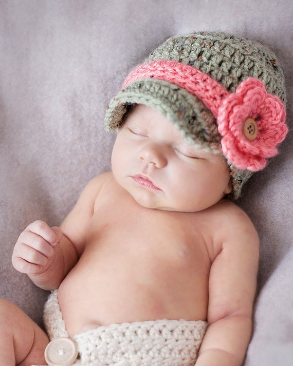 Newborn Baby Girl Infant Newsboy Flower Hat