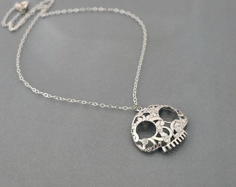 Sugar skull necklace, Silver skull necklace, halloween jewelry, sterling silver chain, flower skull pendant, day of the dead, by balance9