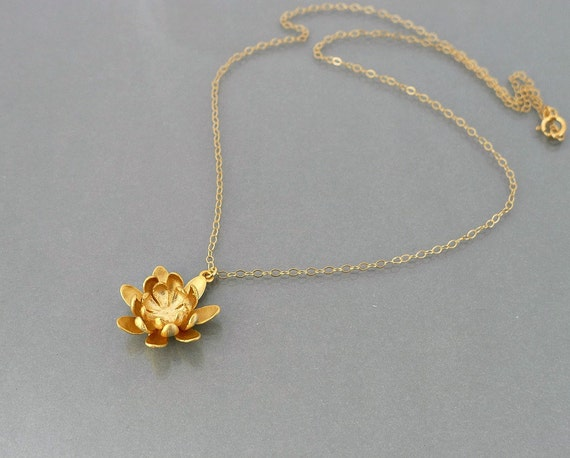 lotus nacklace, 14k gold filled chain, delicate flower charm pendant, holidays gift, wedding jewelry, by balance9