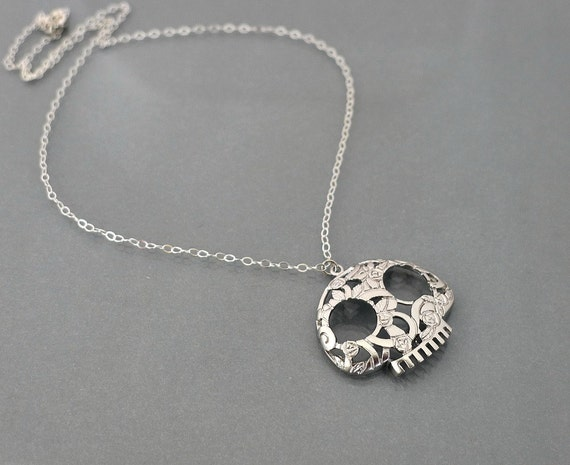 Silver Skull Necklace, sugar skull necklace, halloween jewelry, sterling silver chain, flower skull pendant, day of the dead, by balance9