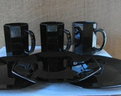 6 PC VINTAGE 1960s Modern French Black Milk Glass 6 Piece Octime Mugs and Plates Black Milk Glass Set Serving