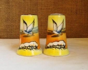 VINTAGE Salt Pepper  Seaside Salt & Pepper Shakers Lusterware Seagull Scenic Shakers Porcelain Hand Painted Made Japan  Beachhouse Nautical