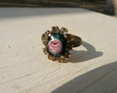 Guilou adjustable cocktail ring - tiny enameled and handpainted rose - black pink with clear rhinestones - eco friendly repurposed vintage