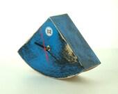 FREE SHIPPING - Wood Desk CLOCK blue