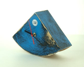 Blue Wood Desk Clock, Table handpainted clock, Cute gift ideas, Distressed Wood clock, Blue home decor, Chistmas home decor,