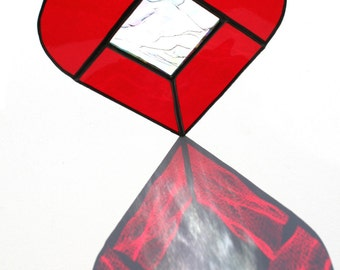 Stained Glass Red Love Heart Suncatcher, Heart Window Decor, Housewarming Gift Heart Ornament I love you gift