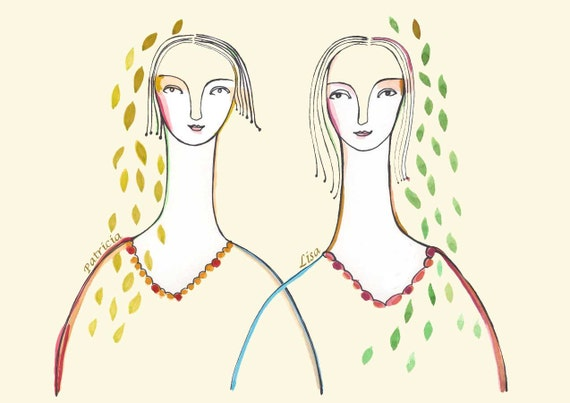 Art Print Personalized family portrait Sisters mother daughter