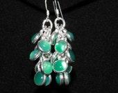 Clearance Sale Emerald Green AGATE Earrings Gemstone Earrings Waterfall Cluster Dangle Handmade Earrings Jewelry Sterling Silver Metals