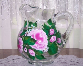 Pitcher with Hand Painted Pink Roses