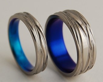 Titanium Rings ,Wedding Bands , Promise Rings , Titanium Wedding Ring Set , The Sphinx Bands in Nightfall and New Beginning Blue
