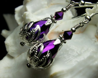 Metallic Amethyst Purple Crystal Teardrop Steampunk Earrings, Antiqued Silver Filigree, Titanic Temptations Vintage Victorian Bridal Jewelry
