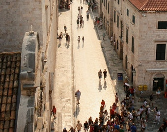 Dubrovnik Photography - Croatia Travel Photography - Morning Light City Streets People Mediterranean Home Decor Neutral Photo Print