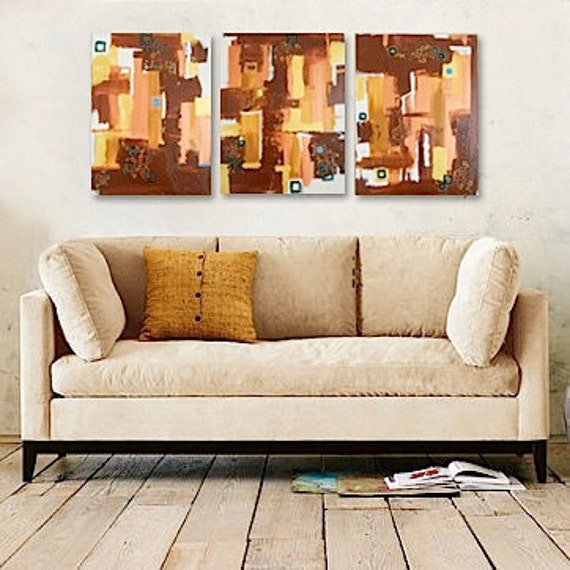Large Triptych - original abstract paintings - geometric brown metallic copper gold - modern tribal southwest - SUMMER SALE - cij