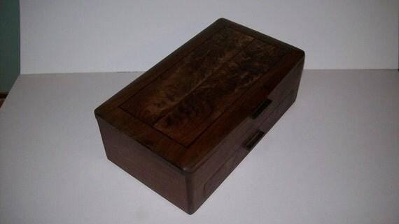 Inlay Wood Jewelry Box- Walnut with Fancy Walnut Top- Elite Collection 2