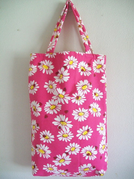 Extra Large Tote Bag - Bright Pink Daisies and Ladybugs