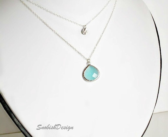 Aquamarine Necklace, Layered Bezel Necklace, Dainty Necklace, Mothers Necklace, Mom Gift, Jewelry Gifts, Womens Gifts, Multi strand necklace