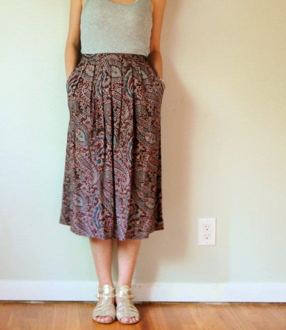 vintage women burgundy wine red black coral teal green paisley printed high waisted pleated midi calf long granny full skirt (small, 2 4)