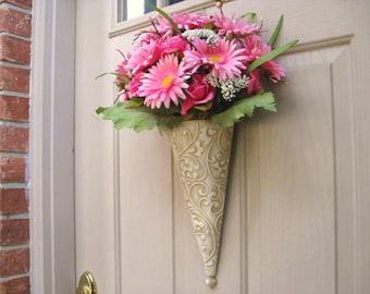 Pink Roses Door Hanger, Floral Arrangement, Pink Home Decor, Bridal Baby Shower Decor, Spring Wreath, Shabby Cottage Chic, Floral Wall Decor