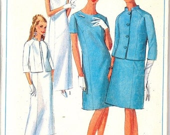 7319 1960's Women's Dress in Two Lengths with Jacket Sewing Pattern Simplicity 7319 Bust 32