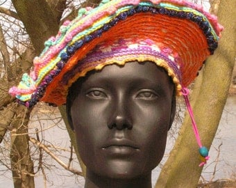 Colorful Festive Beret Crochet Hat with a Dangle of Beads to Keep it Tight...