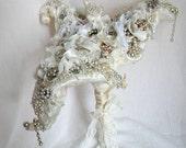 Unique Wedding Bouquet,  Avant Garde Bridal Bouquet,  Vintage Rhinestone Calla Lily Bridal Bouquet.