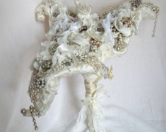 Unique Wedding Bouquet,  Avant Garde Bridal Bouquet,  Vintage Rhinestone Calla Lily Bridal Bouquet.