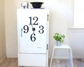 Magnetic fridge clock. 'Oversize typographic numbers' design - choose colours
