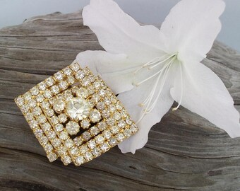 Vintage Sparkling Jewelry Wedding Brooch Large Scarf Pin Multi Layer Rhinestone Brooch