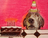Dog Art 8x10 Print of Original Art Dog  Ilustration Black Labrador with Birthday Cake