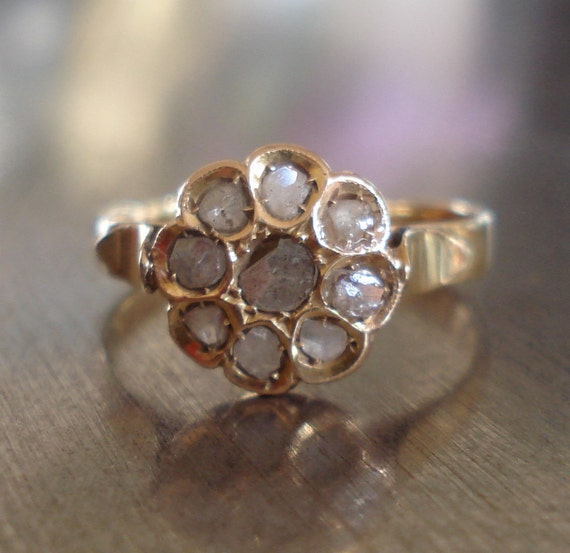 Antique Rose Cut Diamond Ring - Vintage Diamond Cluster Ring - Unique Engagement Ring -Right Hand Ring - Promise Ring - 1800s Diamond Ring