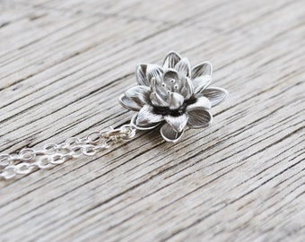 Silver Lotus Flower Necklace, Sterling Silver Chain, Water Lily Flower Pendant, Beauty Life, Gift Under 25