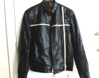 Men's Leather Motorcycle Jacket w/Minimal White Race Stripes w/Studs River Island London Clothing Solid Black Real Leather