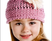 The Annelise Knit Hat,girls knit beanie,girls lace hat, pink,gift for girls,spring,summer,lace,Easter,silk and tulle blossom,lace,openwork