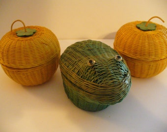 Vintage Straw Boxes Baskets Containers Apples Frogs Straw Fruit Asian Crafts Decor Shanghai Handicrafts YourFineHouse ShipsInternationally