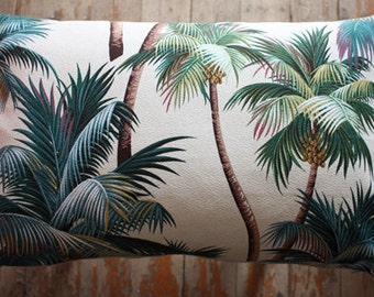 palm tree barkcloth lumber 30x50cm cushion