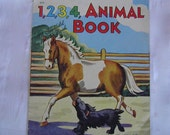 1940 Counting Book of Children and Animal Illustrations  1940's Saalfield Wipe Dry Soft Plastic  Vintage Childhood Treasure - Learning Book