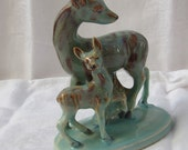 Deer and Fawn Figurine  // Japan Ruri // Glazed Brown Blue