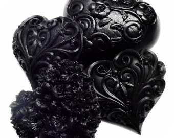 Gift Soaps - Black Beauty Collection - Gift Set of 10 Soaps - Black Licorice - Roses - Hearts - Butterflies