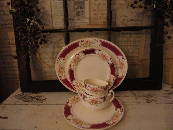 Homer Laughlin 5Pc Romantic Country Floral Platter Dishes