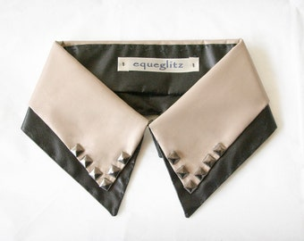 Double layer faux leather stud collar necklace