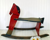 Antique Large Wooden Red Rocking Horse - Vintage Decorator's Handmade Ride On Child Size HearthSide Toy - Shabby Farmhouse Holiday Decor