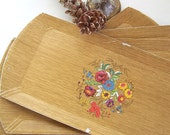 Vintage Serving Trays, Set Four Hasko Trays, Retro Buffet Trays, Faux Wood Floral Motif