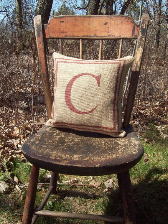 Burlap Initial Pillow with Double Border - Personalized Burlap Pillow - Wedding Gift Pillow - Other Colors Available - Custom Initial Pillow