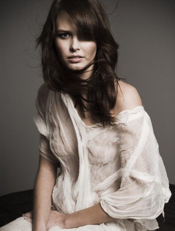 Nuno felt clothing white silk merino wool comfortable women's blouse tunic