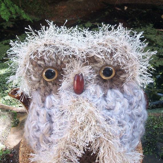 Hand crocheted Owl Teapot Cozy   - Brown White beige - Medium size pot